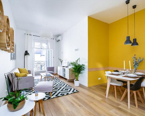 salon scandinave avec un mur jaune photos et id es d co de salons. Black Bedroom Furniture Sets. Home Design Ideas
