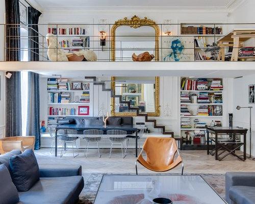 salon avec un sol en bois clair photos et id es d co de salons. Black Bedroom Furniture Sets. Home Design Ideas