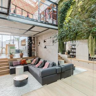 Esempio di un soggiorno contemporaneo di medie dimensioni e aperto con libreria, pareti grigie, parquet chiaro, stufa a legna e nessuna TV