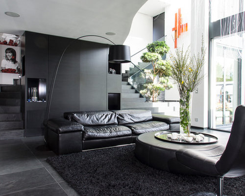 salon avec un mur noir photos et id es d co de salons. Black Bedroom Furniture Sets. Home Design Ideas
