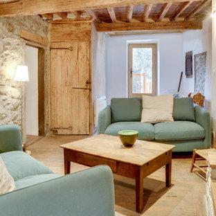 Modelo de salón cerrado y madera, campestre, pequeño, madera, sin televisor, con paredes blancas, suelo de madera clara, chimenea tradicional, marco de chimenea de piedra y madera