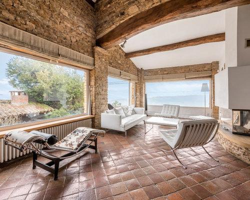 Salon Avec Un Sol En Carreau De Terre Cuite  Photos Et Ides Dco