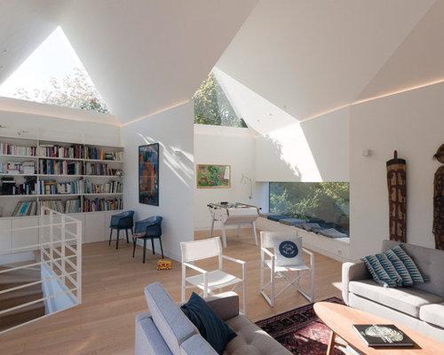 salon mansard ou avec mezzanine contemporain photos et. Black Bedroom Furniture Sets. Home Design Ideas