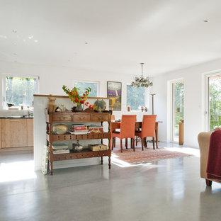 Cette image montre un salon design de taille moyenne et ouvert avec un mur blanc et aucune cheminée.