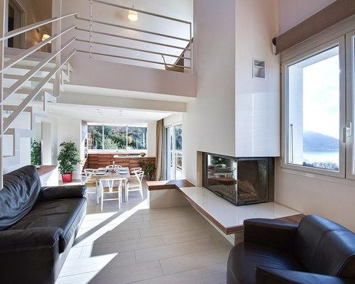 Salon moderne avec un sol en carrelage de c ramique photos et id es d co de salons - Idee deco piece a vivre ...