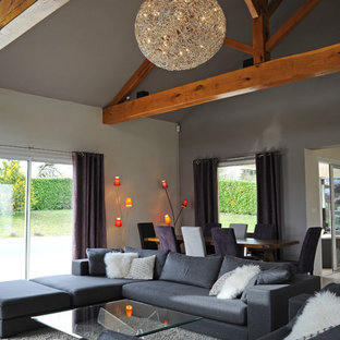 Example of a trendy open concept living room design in Grenoble with gray walls