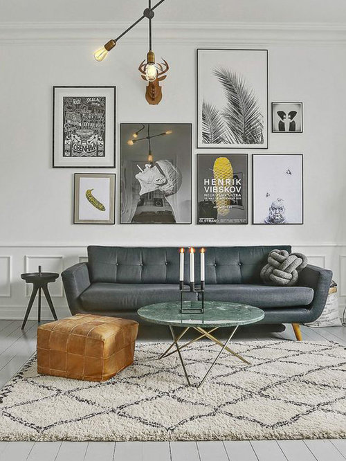 Danish Painted Wood Floor And White Floor Living Room Photo In Reims With  White Walls