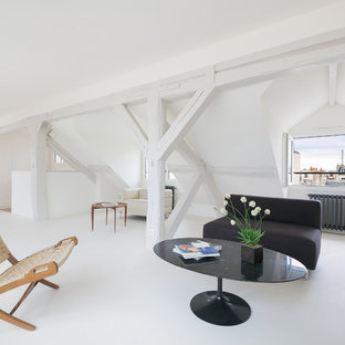 Living room - modern living room idea in Other with white walls