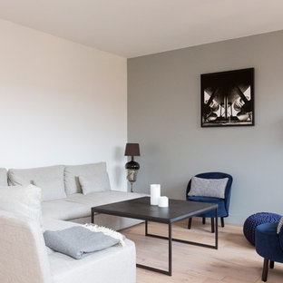 パリの中サイズのコンテンポラリースタイルのおしゃれなLDK (グレーの壁、淡色無垢フローリング、暖炉なし、据え置き型テレビ、ベージュの床) の写真