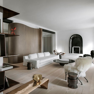 Large danish formal and open concept light wood floor living room photo in Paris with white walls, a standard fireplace, a metal fireplace and no tv