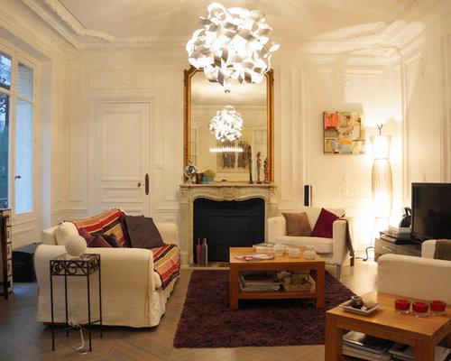 Salon classique avec un sol en bois peint : Photos et idées ...