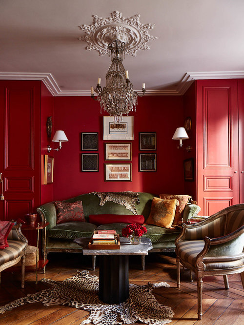 salon avec un mur rouge photos et id es d co de salons. Black Bedroom Furniture Sets. Home Design Ideas