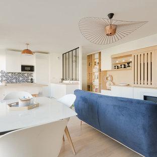 Mittelgroßes, Repräsentatives, Offenes Nordisches Wohnzimmer mit weißer Wandfarbe, hellem Holzboden und verstecktem TV in Paris