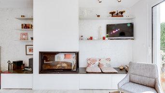 réagencement et rénovation d'une entrée et des pièces à vivre d'une maison.