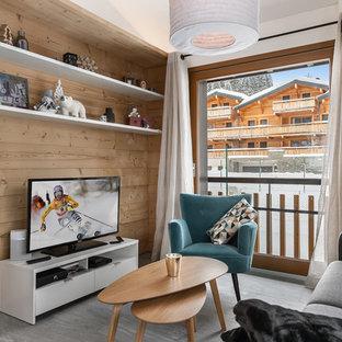 Idée de décoration pour un salon chalet fermé avec un mur blanc, un téléviseur indépendant et un sol gris.