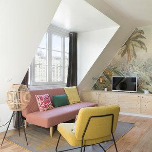 パリの小さいトロピカルスタイルのおしゃれなリビング (淡色無垢フローリング、暖炉なし、マルチカラーの壁、据え置き型テレビ) の写真