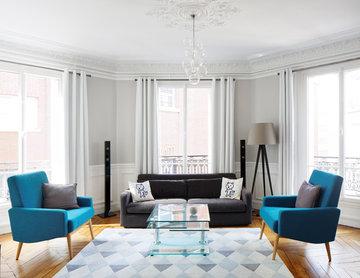 Rénovation d'Appartement Haussmanien - un salon classique chic