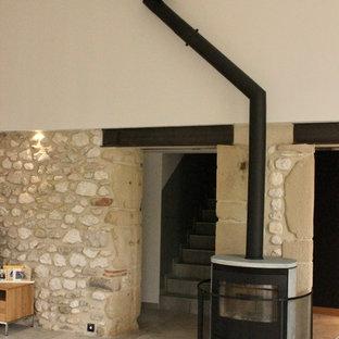 グルノーブルのインダストリアルスタイルのおしゃれなLDK (グレーの壁、セラミックタイルの床、薪ストーブ、据え置き型テレビ、グレーの床) の写真