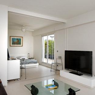 Idées déco pour un salon contemporain de taille moyenne et ouvert avec un mur blanc, un sol en carrelage de céramique, aucune cheminée et un téléviseur indépendant.