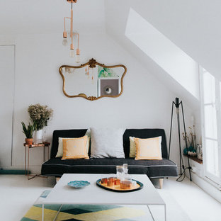 Living room - large eclectic open concept white floor and vinyl floor living room idea in Paris with white walls