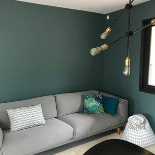 リヨンの中サイズのインダストリアルスタイルのおしゃれなLDK (緑の壁、コンクリートの床、暖炉なし、グレーの床) の写真