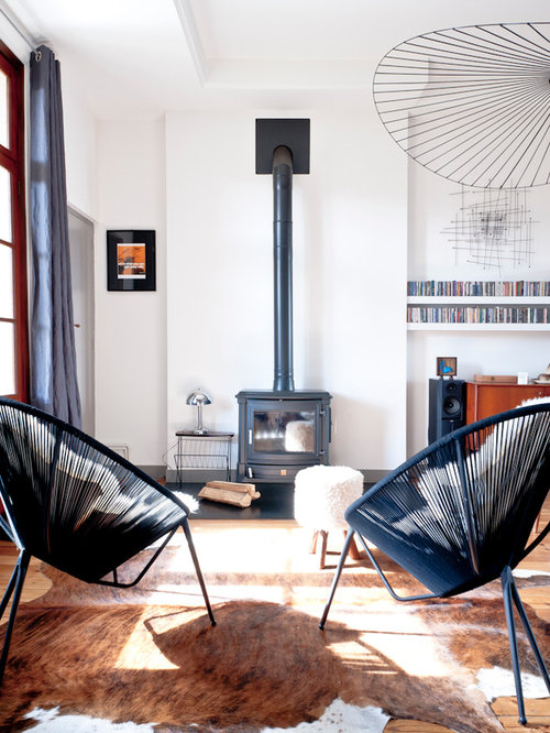 Scandinavian Living Room Design Ideas Renovations Photos With A Wood Burning Stove
