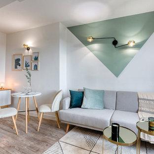 Esempio di un piccolo soggiorno nordico chiuso con pareti verdi, parquet chiaro, nessun camino, TV a parete e pavimento grigio