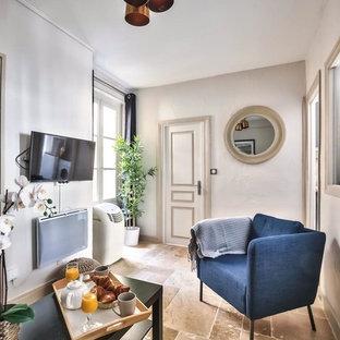 Immagine di un piccolo soggiorno chiuso con pareti bianche, pavimento in terracotta, nessun camino, TV a parete e pavimento marrone