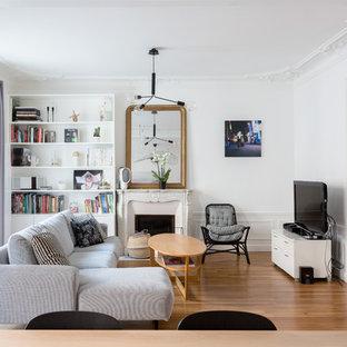 Cette image montre un salon avec une bibliothèque ou un coin lecture traditionnel de taille moyenne et ouvert avec un mur blanc, un sol en bois brun, une cheminée standard, un téléviseur indépendant, un sol marron et un manteau de cheminée en pierre.