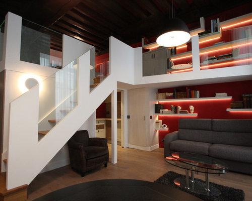 salon avec un mur rouge photos et id es d co de salons. Black Bedroom Furniture Sets. Home Design Ideas