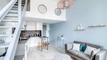 salon avec vue sur le coin cuisine