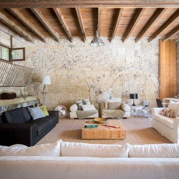 Salon campagnard dans un loft