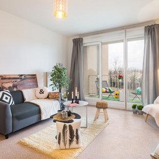 Inspiration pour un salon design fermé et de taille moyenne avec un mur blanc, un sol en linoléum et aucune cheminée.