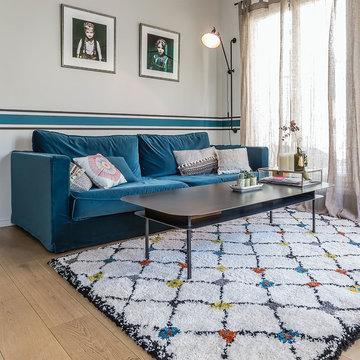 Salon de type scandinave avec un tapis KABOSHON