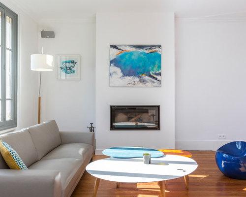 Salon classique avec une chemin e ribbon photos et id es for Petit salon avec cheminee