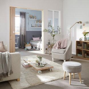 Idées déco pour un salon contemporain de taille moyenne et fermé avec un mur blanc, moquette, aucune cheminée et aucun téléviseur.