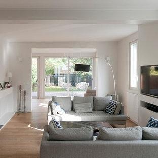 Cette image montre un salon design de taille moyenne et fermé avec un mur blanc, un sol en bois clair, une cheminée standard et un téléviseur fixé au mur.