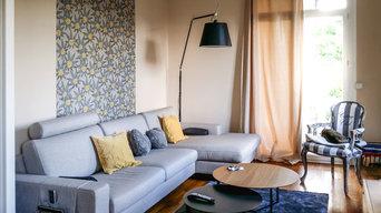 Séjour - Remplacement du mobilier et mise en valeur par un lé de papier peint