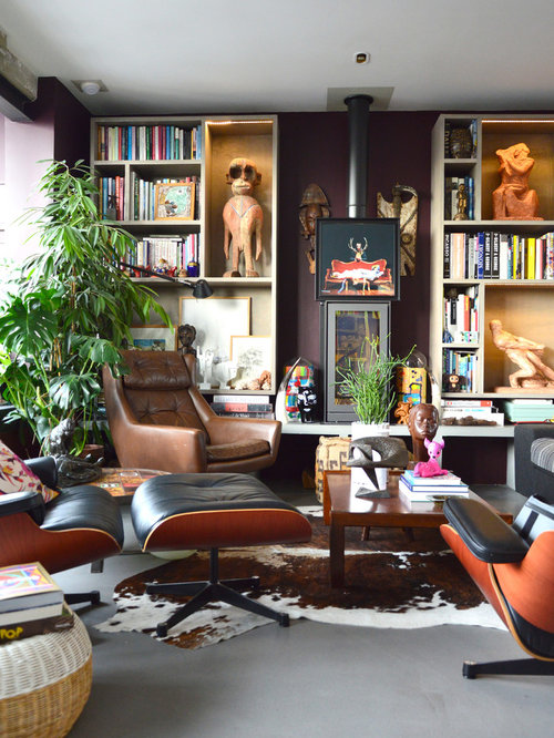 Eclectic Room Design: Mid-Sized Eclectic Living Room Design Ideas, Remodels