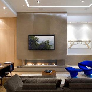 Idées déco pour un grand salon contemporain fermé avec une salle de réception, un mur blanc, un sol en bois clair, une cheminée ribbon et un téléviseur fixé au mur.