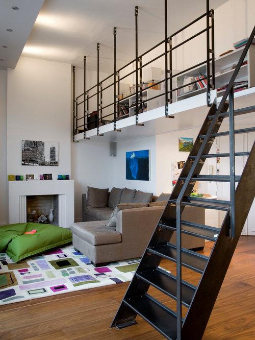 White kitchen light floors - Mezzanine Houzz