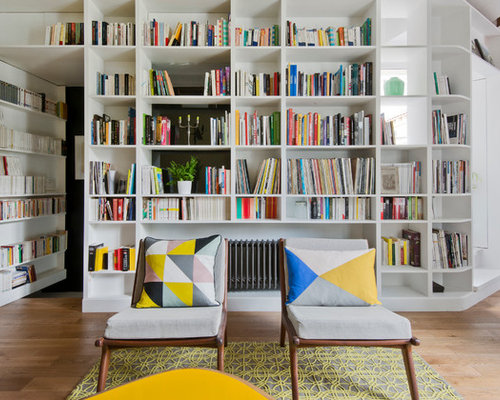 Example Of A Mid Sized Danish Enclosed Light Wood Floor Living Room Library  Design In Part 76
