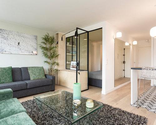 Small Danish Open Concept Light Wood Floor And Brown Floor Living Room  Photo In Paris With