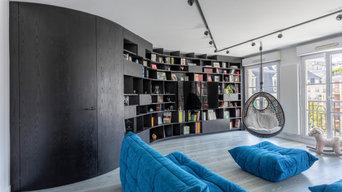 Une bibliothèque singulière dans une pièce de vie agrandie