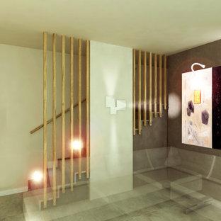 """Foto di una scala a """"L"""" minimalista di medie dimensioni con pedata in pietra calcarea, alzata in pietra calcarea e parapetto in legno"""