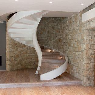 Idee per una scala a chiocciola contemporanea di medie dimensioni con pedata in legno e alzata in legno
