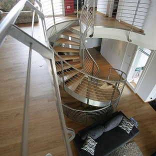 Staircase - large modern painted spiral open and metal railing staircase idea in Other