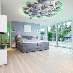 ドルトムントの中くらいのコンテンポラリースタイルのおしゃれな主寝室 (白い壁、淡色無垢フローリング、標準型暖炉、漆喰の暖炉まわり、茶色い床) のインテリア