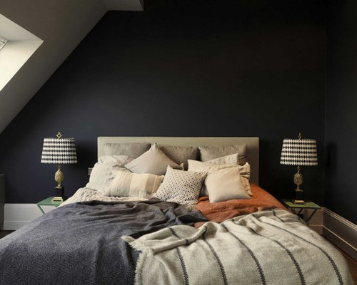 Bedroom Design Ideas, Pictures, Remodel & Decor with Black Walls