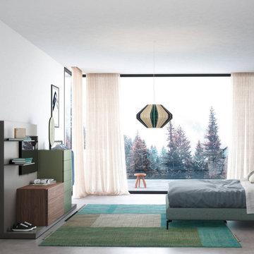 Designer Schlafzimmer mit großem Terrassenfenster